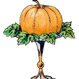 Vintage Clip Art – Pumpkin on a Pedestal
