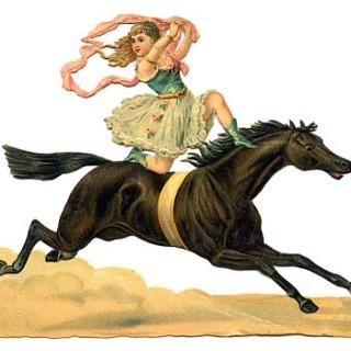 Vintage Circus Clip Art – Daring Acrobat Girl on Horse