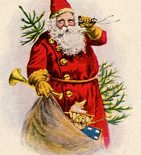 Vintage Christmas Clip Art – Santa with Toys