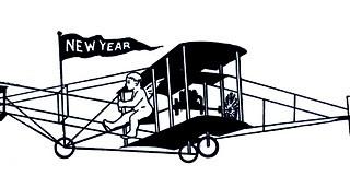 Vintage New Year Clip Art – Cherubs with Airplane & Book