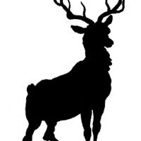 Vintage Clip Art - Deer with Antlers Silhouette