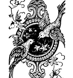 Vintage Clip Art – Printer Ornaments – Birds and Frame