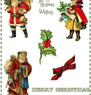 Vintage Christmas Collage Printable