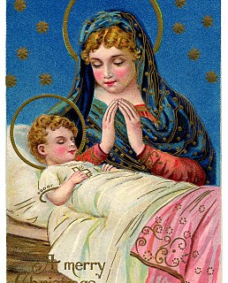 Antique Christmas Graphic – Gorgeous Baby Jesus with Mary