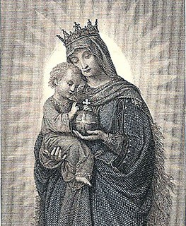 Vintage Clip Art – Extraordinary Holy Card – Madonna and Child