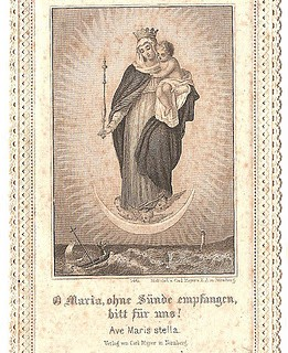 Vintage Ephemera Graphic – Lace Holy Card – Mary with Baby Jesus