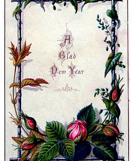 Vintage New Year Clip Art – Moss Rose Frame