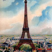 Vintage Graphic - Gorgeous Colorful Eiffel Tower
