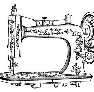 Antique Clip Art – Pretty White Sewing Machine