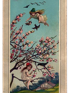 Victorian New Year Graphic – Fairy Girls with Cherry Blossoms