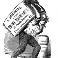 Vintage Clip Art- Man with Wooden Trunk - Label