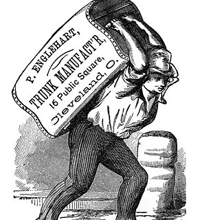 Vintage Clip Art- Man with Wooden Trunk – Label