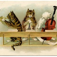 \Music cats vintage graphic