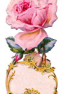 Vintage Graphic – Ornate Rose Tag – Label