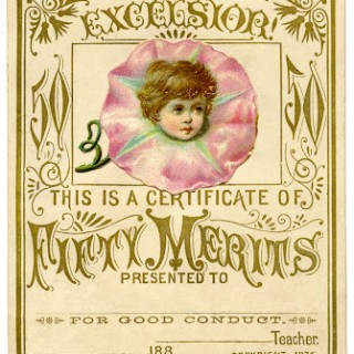 Vintage Graphic – Merit Card with Flower Fairy