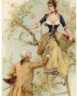 Vintage Graphic – Romantic French Couple picking Apples