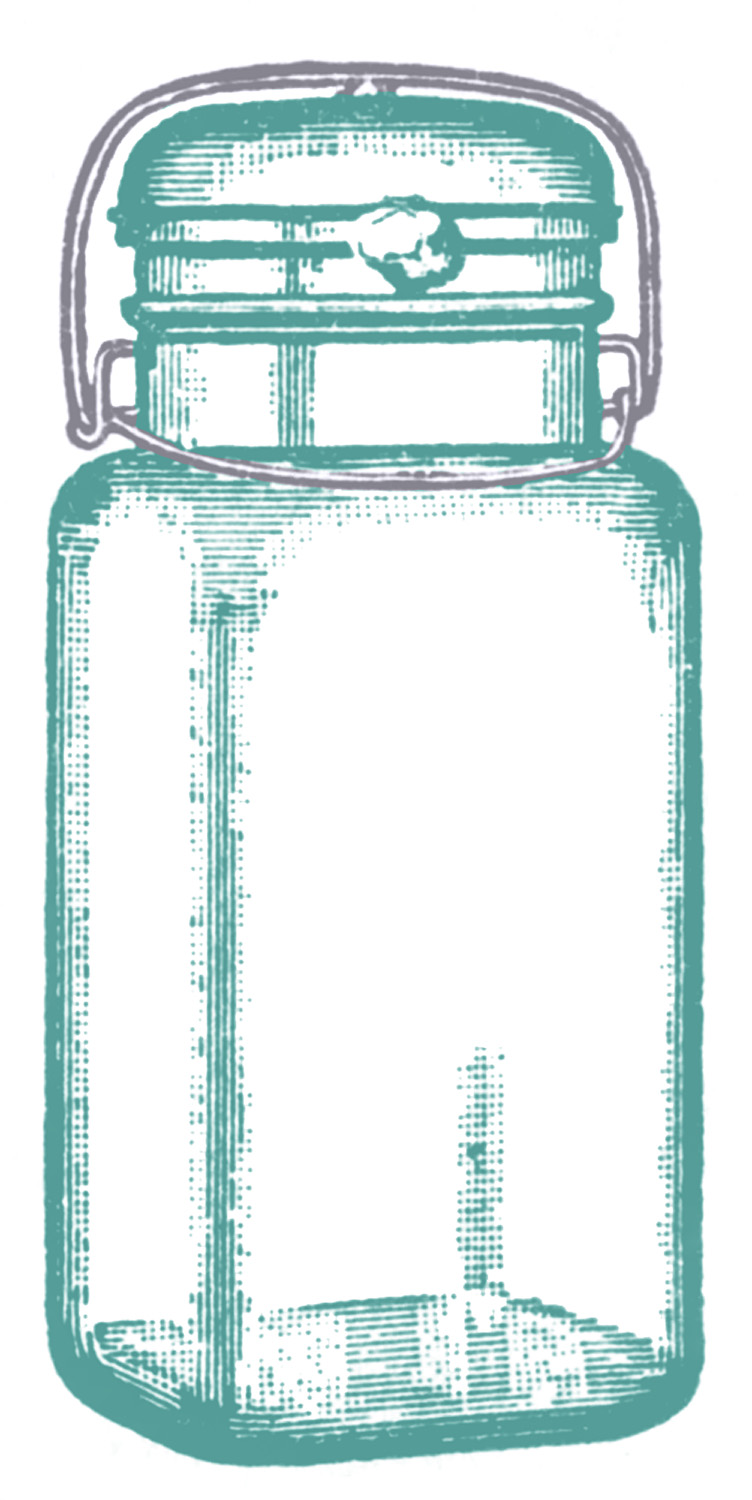 Vintage Clip Art - Cute Glass Mason Jar - Label - The ...