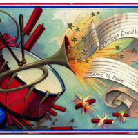 4th of July Patriotic Image showing Drum and Trumpet and fireworks