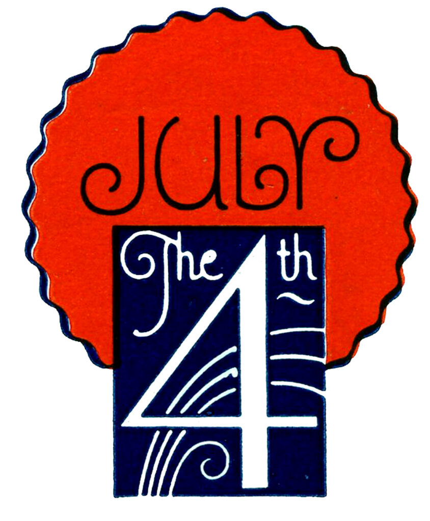July 4th clip art showing date