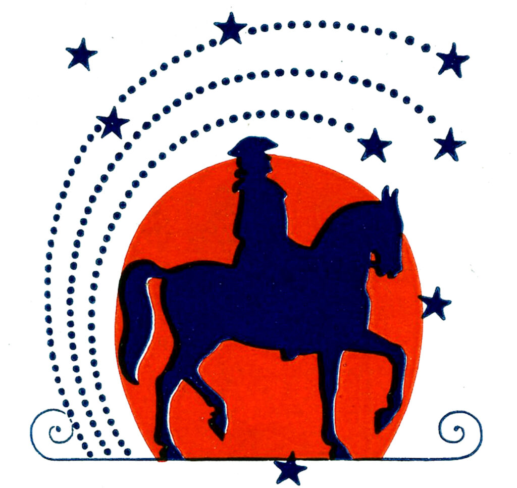 4th of July Clip art with Man on Horse