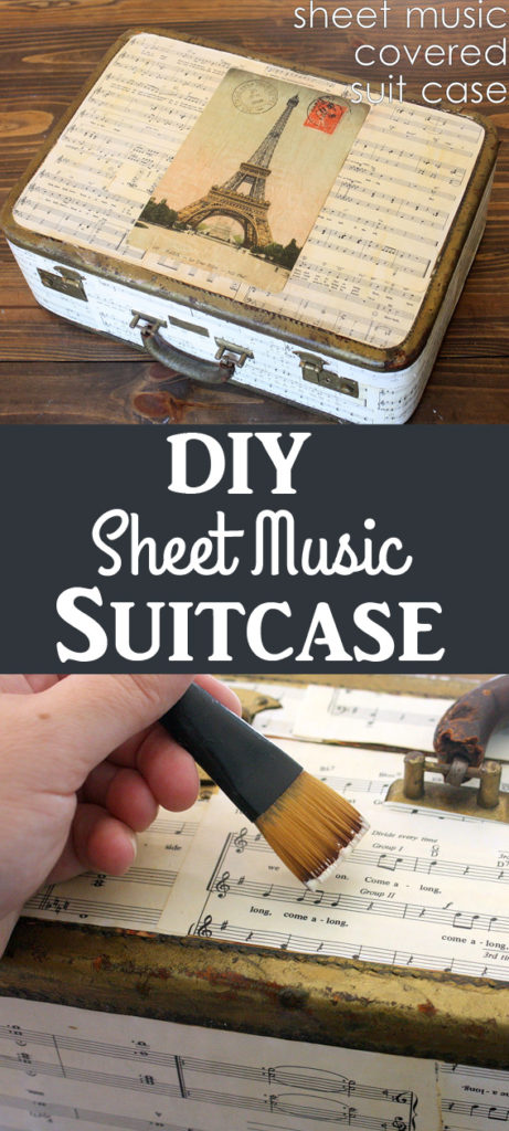 DIY Sheet Music Covered Suitcase