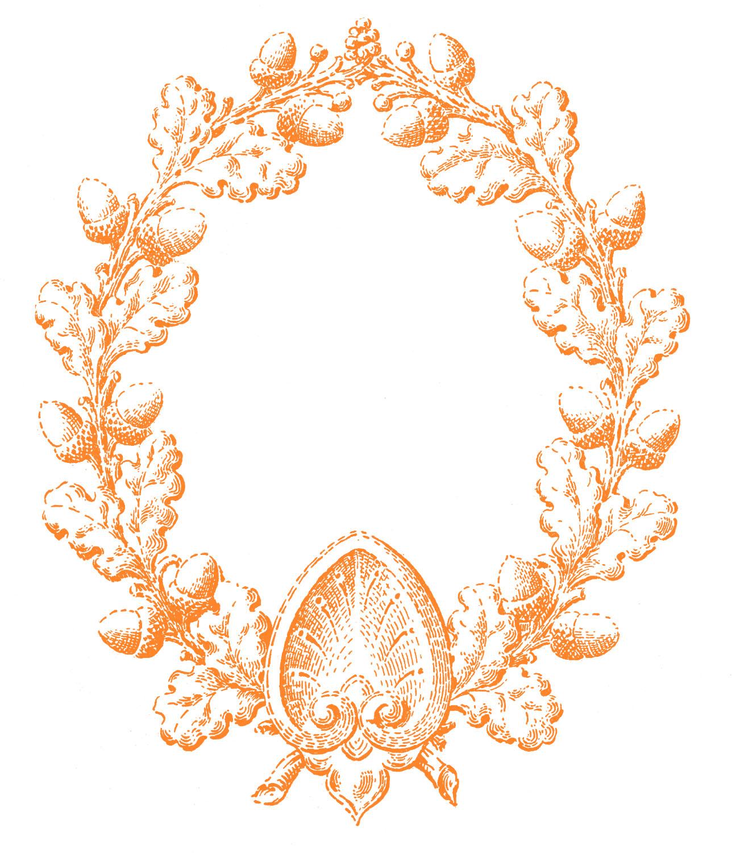 Vintage Fall Clip Art - Oak Leaf and Acorn Wreath - The ...