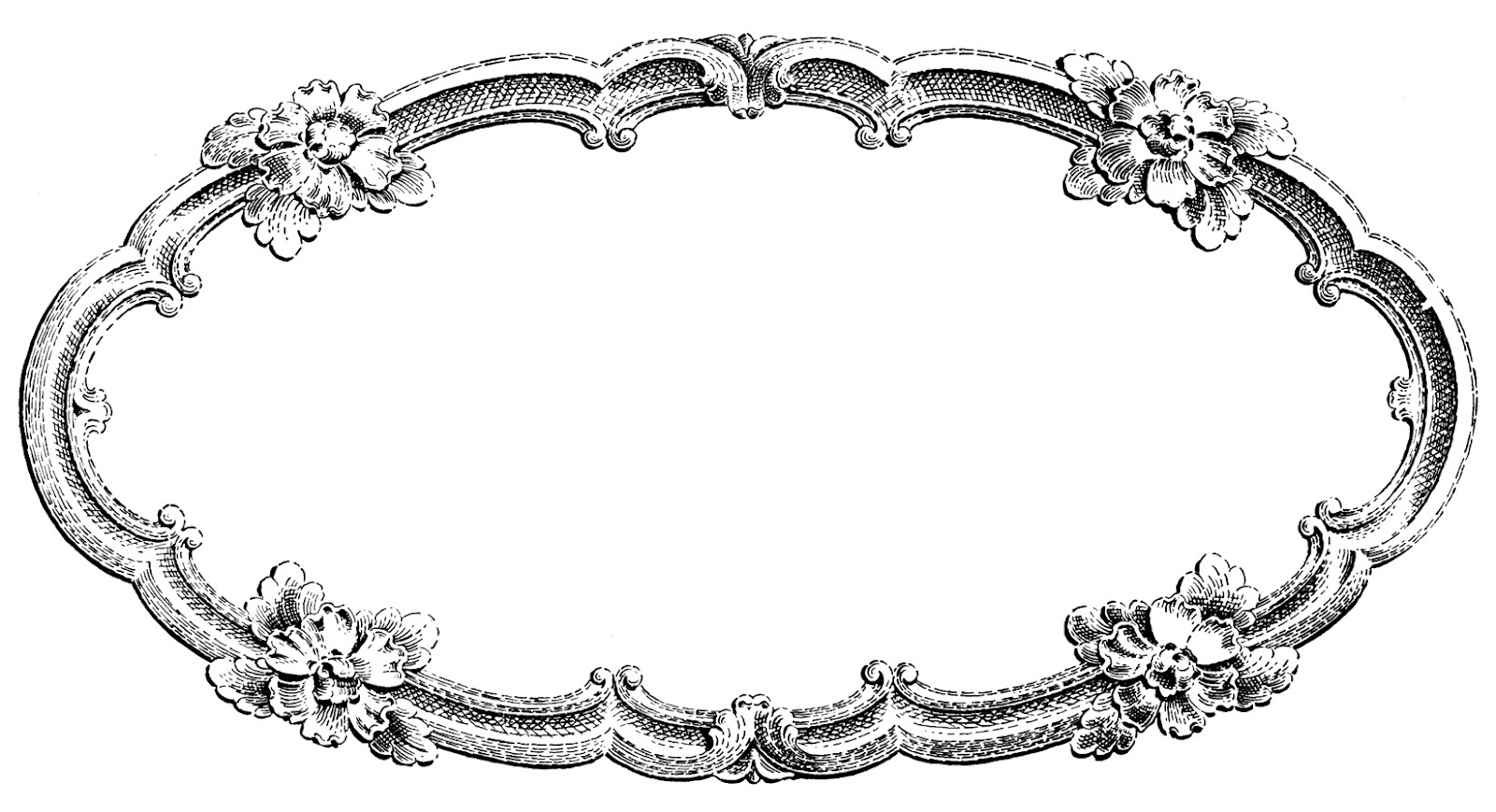 Vintage Clip Art - Delicate Oval Frame - The Graphics Fairy