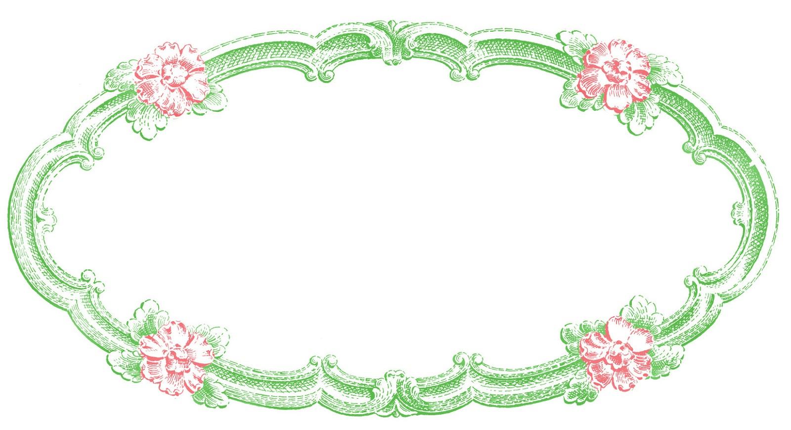 Vintage Clip Art Delicate Oval Frame