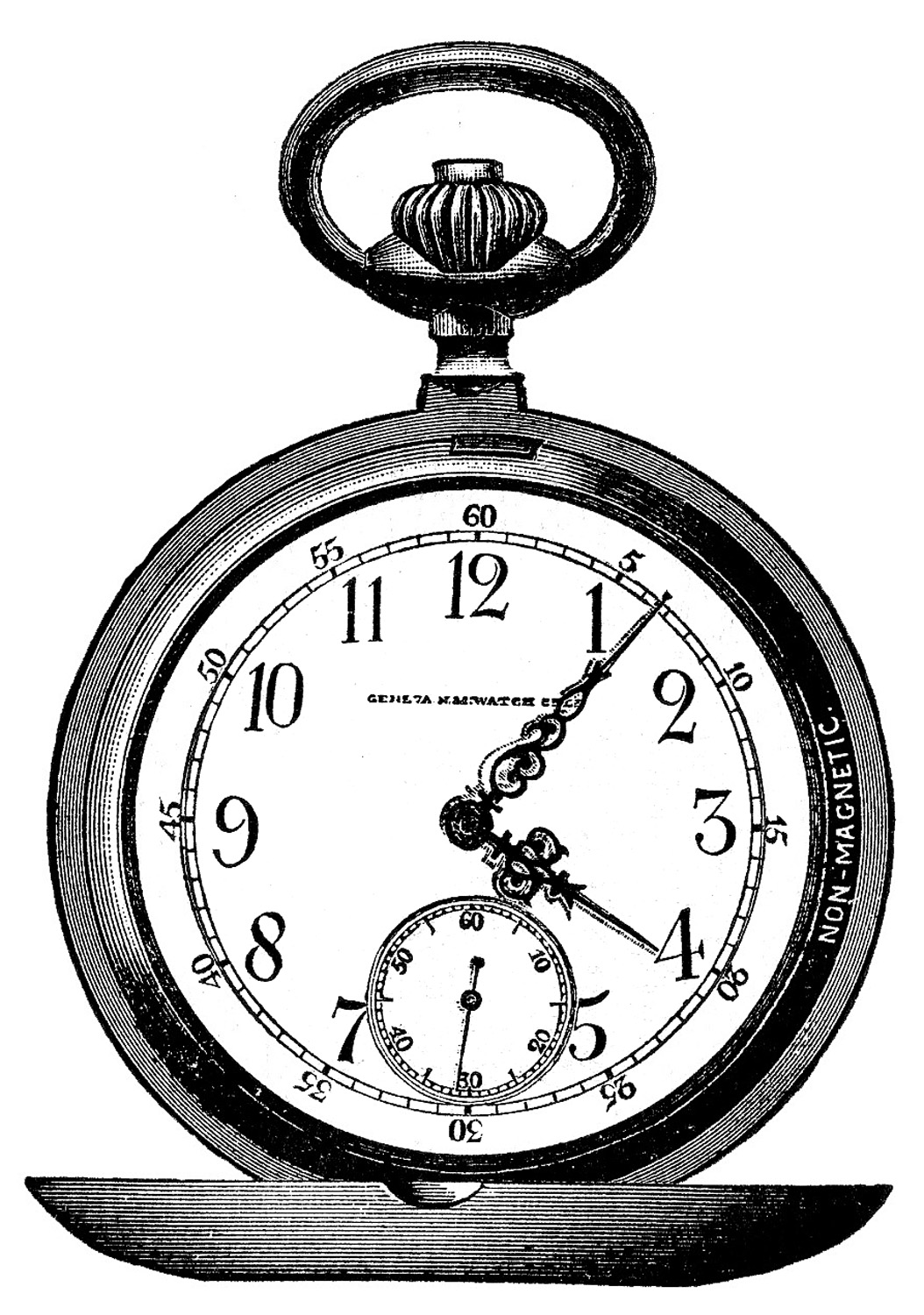 vintage clip art - marvelous pocket watch