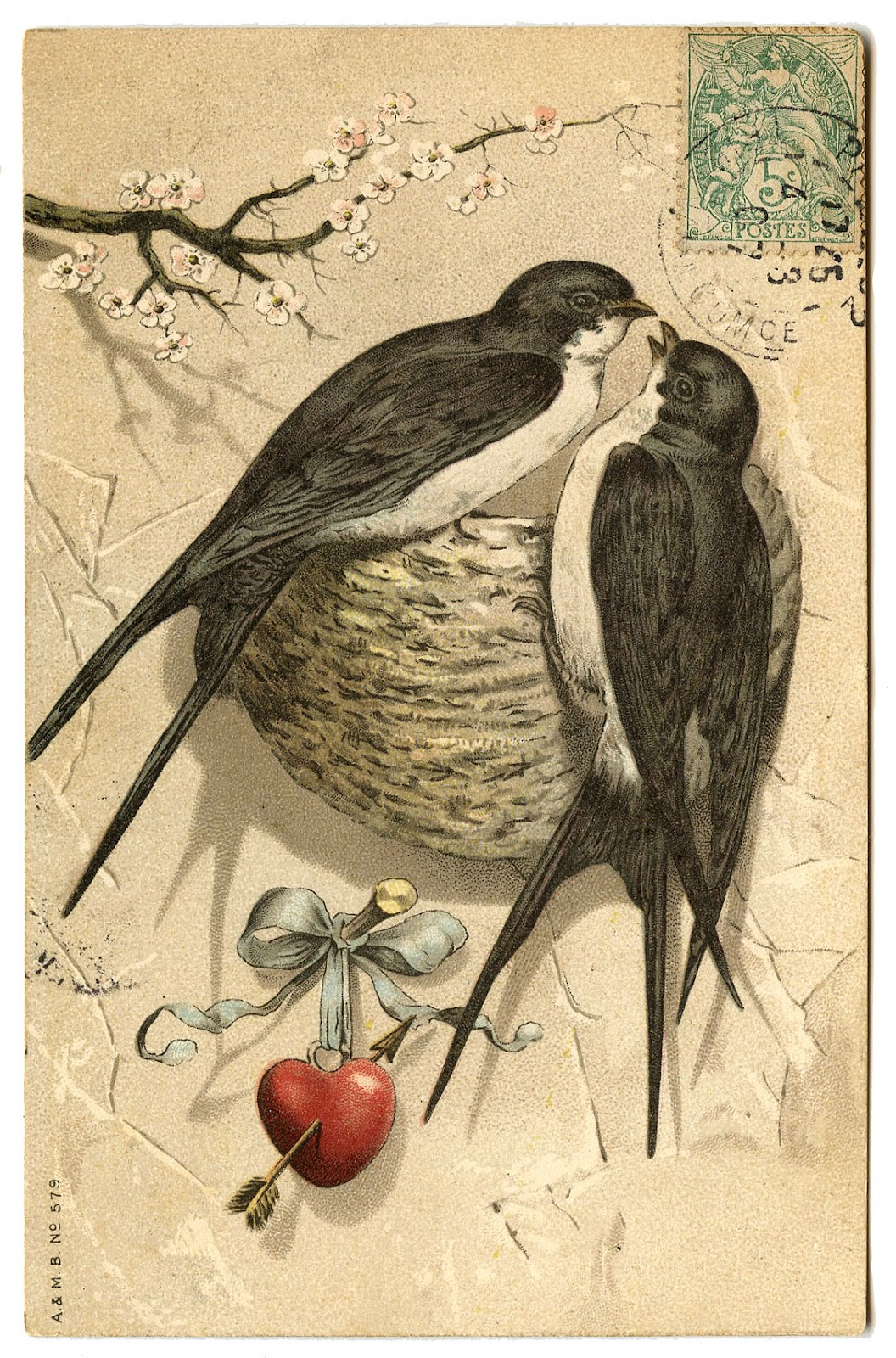 Antique graphic pretty bird pair with nest the for Graphics fairy