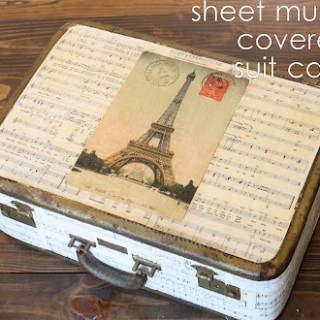 DIY Sheet Music covered Suitcase – Easy Decoupage!
