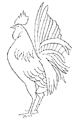 Embroidery Pattern - Rooster - Line Art