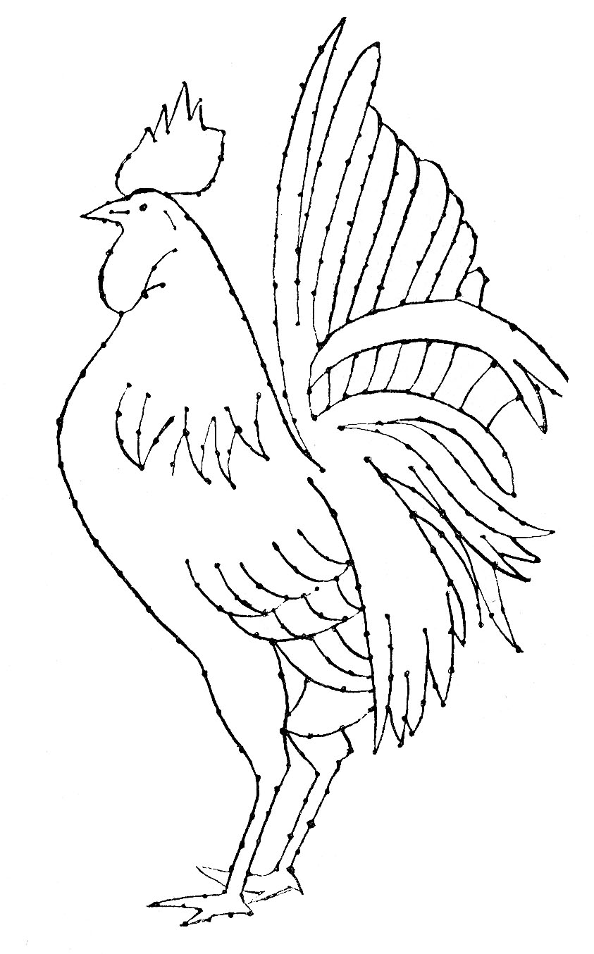 Line Art Embroidery : Embroidery pattern rooster line art the graphics fairy