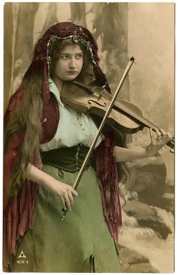 Vintage Image Gypsy with Violin