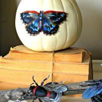 Halloween+Bug+Mantel+pumpkin-ShabbyNest