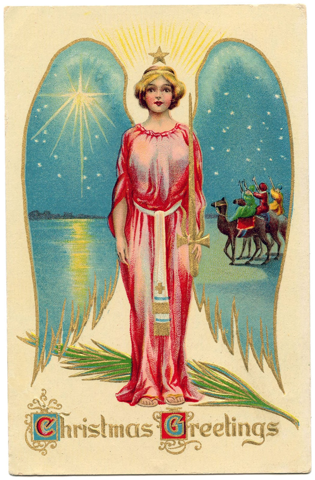 Vintage christmas image starry winged angel the for Christmas angels