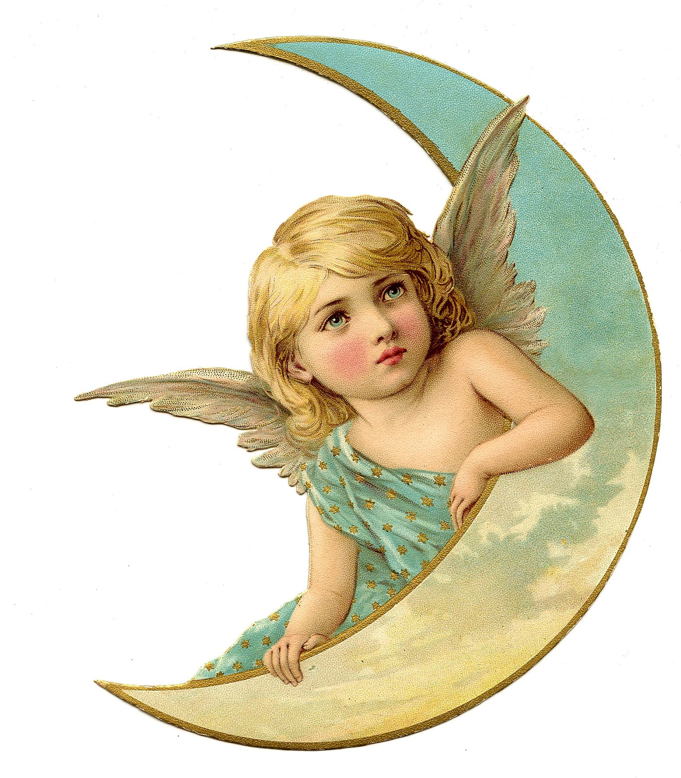 Vintage christmas image amazing angel on moon the for Angel clipart