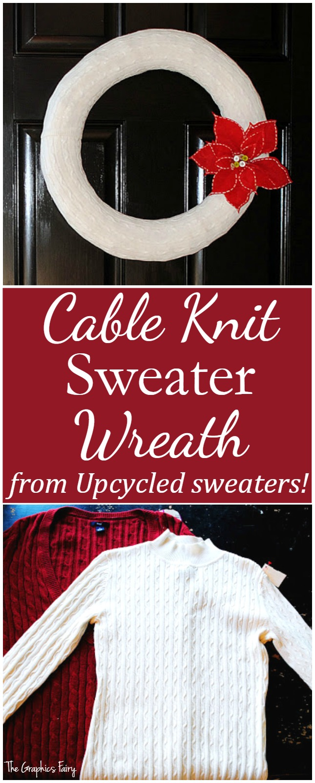 Cable Knit Sweater Wreath from Upcycled Sweaters - The Graphics Fairy