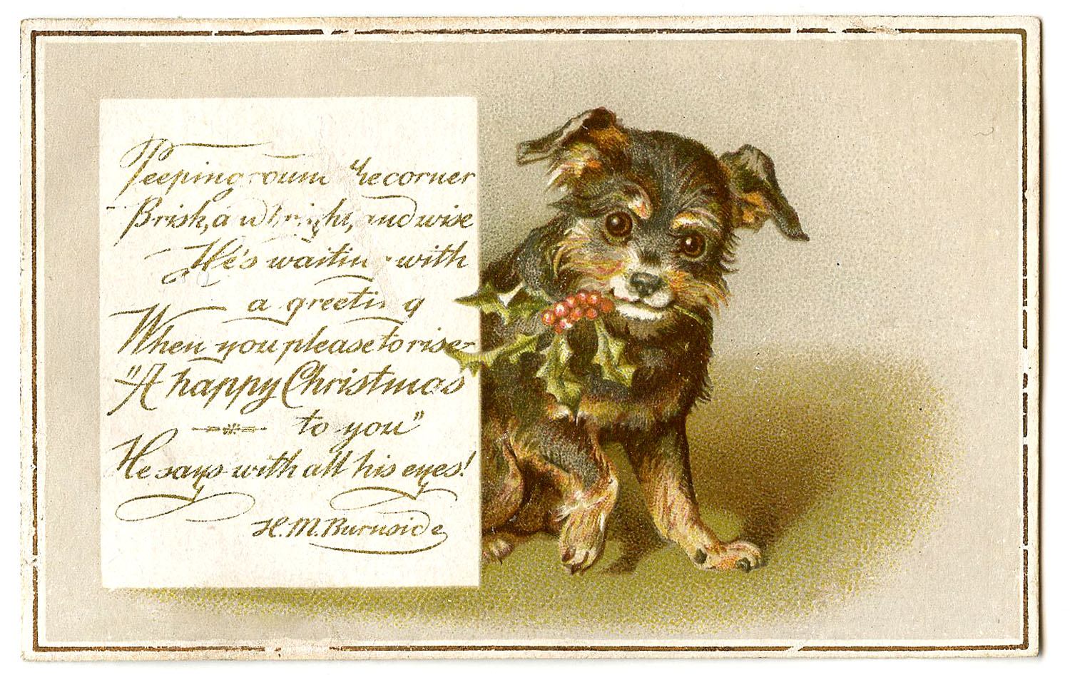 Antique Christmas Images Dog With Holly The Graphics Fairy
