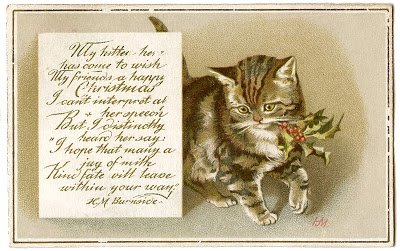 Vintage Christmas Image - Kitty
