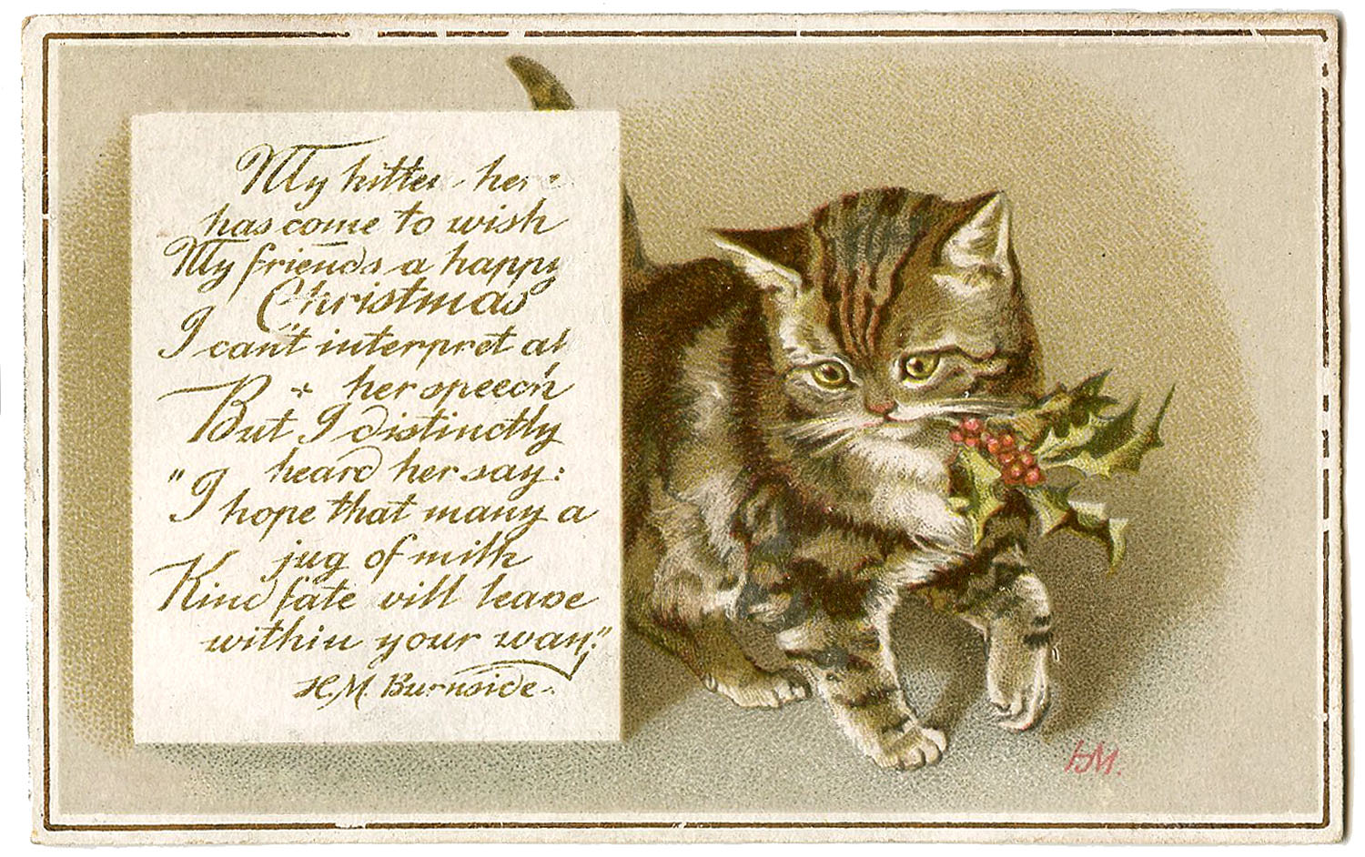 Vintage Christmas Image - Kitty with Holly - Gift Tags ...