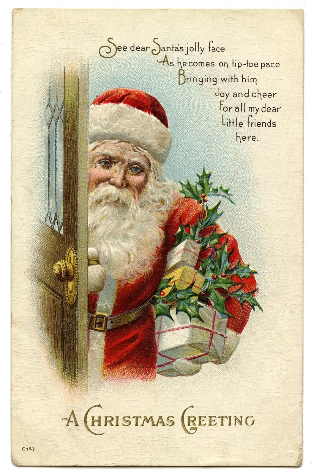 vintage christmas image santa at door - Vintage Christmas Pictures