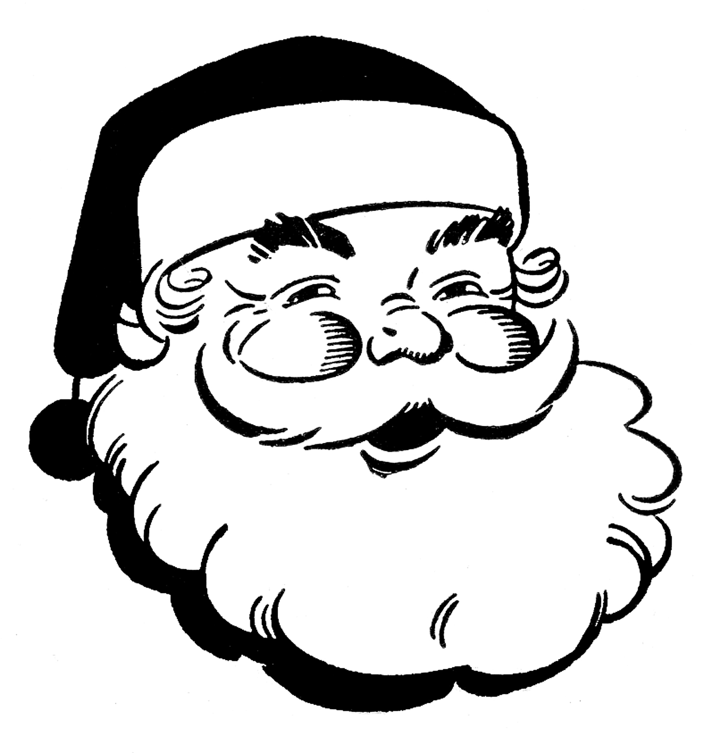 Free cartoon christmas clipart black and white image