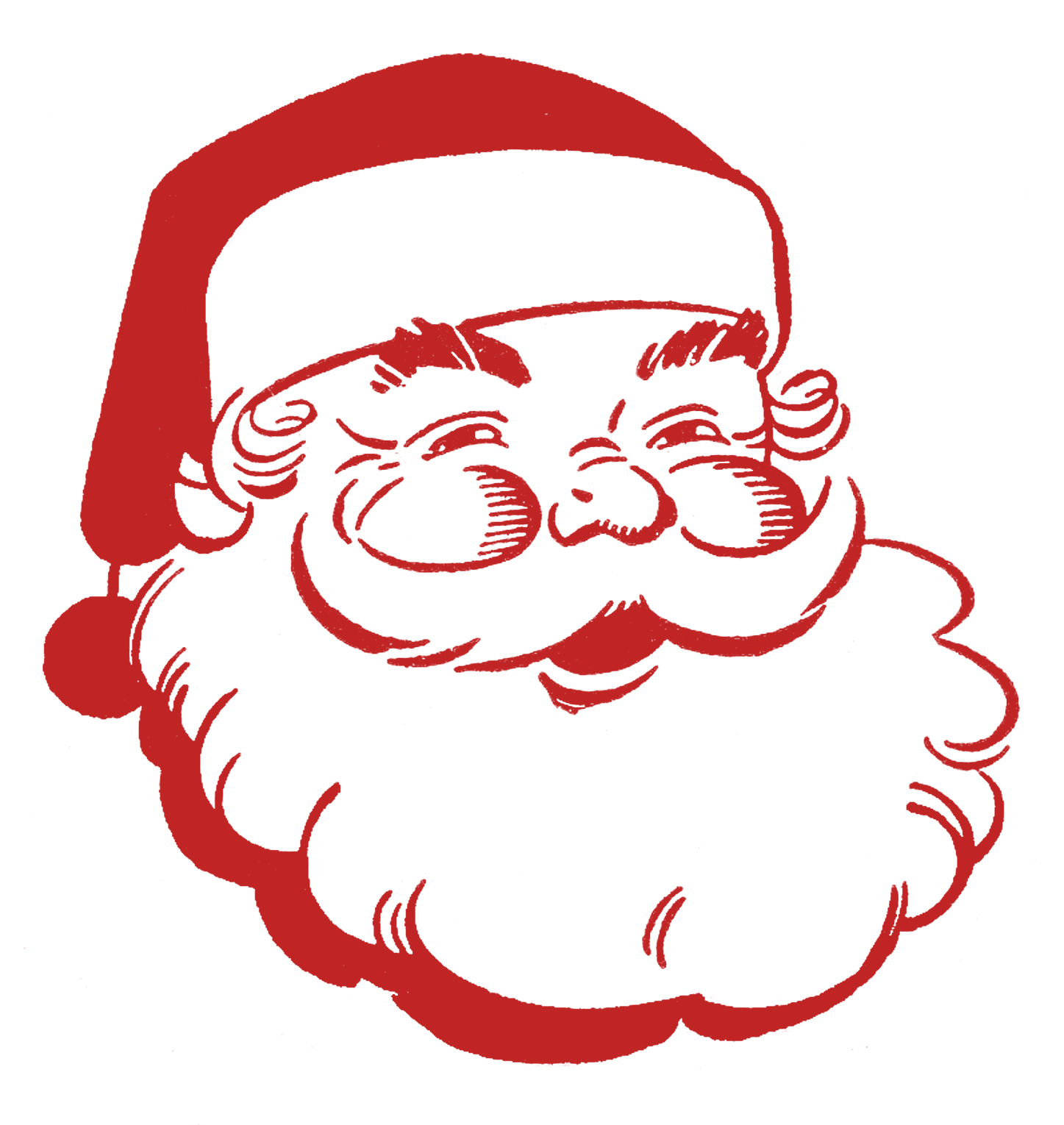 Retro Christmas Clip Art - Jolly Santa - The Graphics Fairy