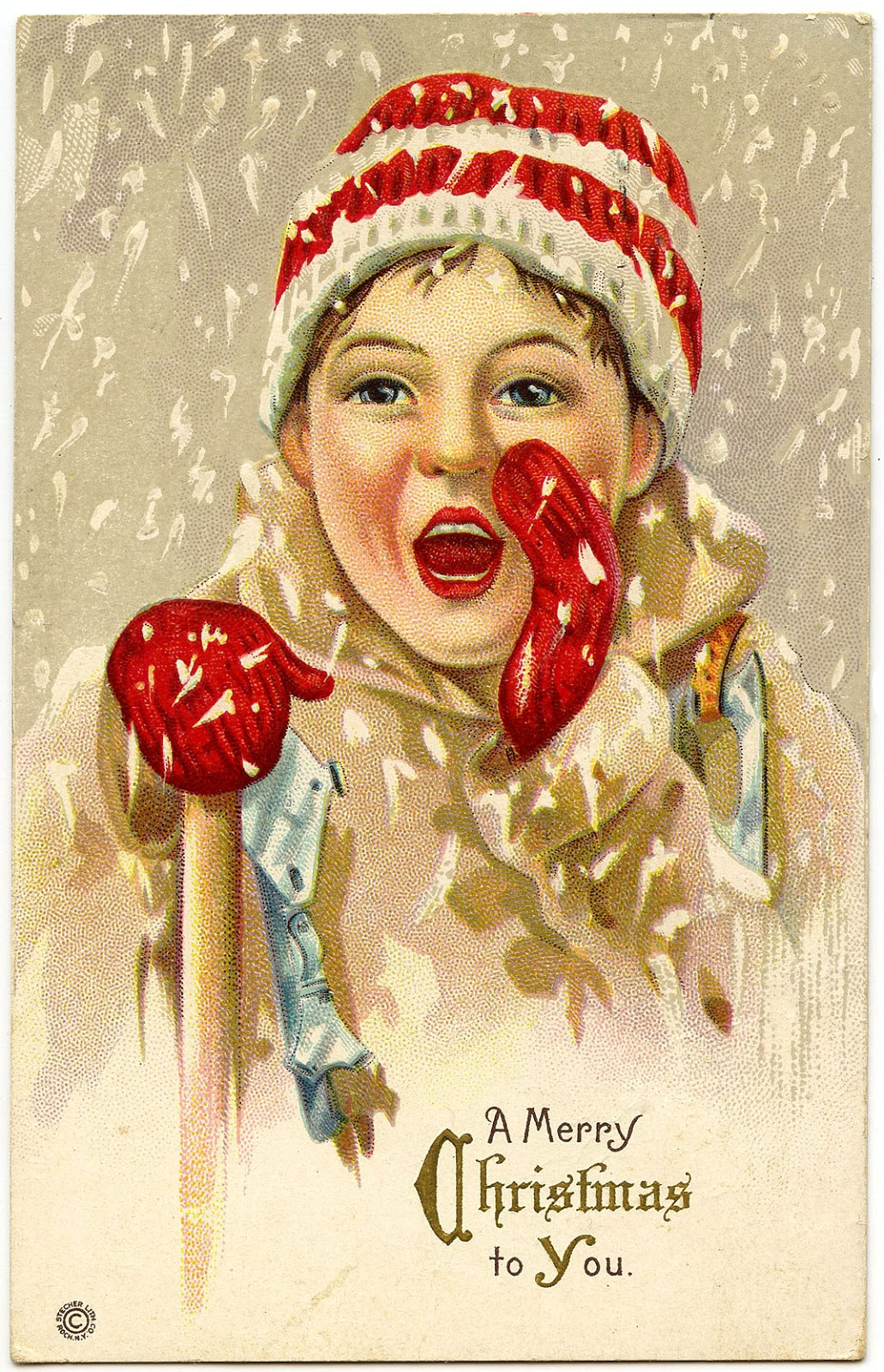 Vintage Christmas Graphic Boy In Snow The Graphics Fairy