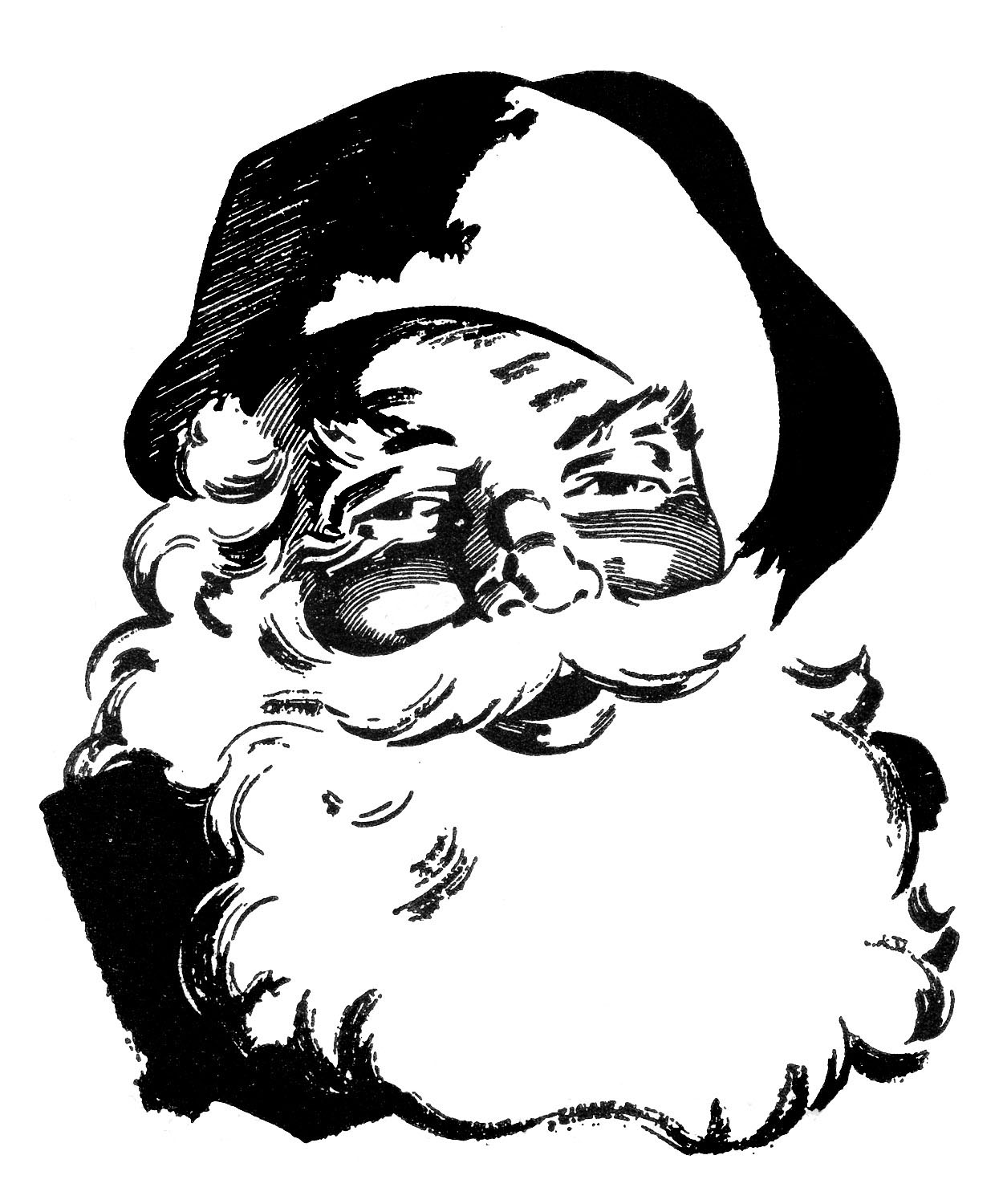 Christmas In July Clipart Black And White.12 Cute Santa Clipart Retro Style The Graphics Fairy