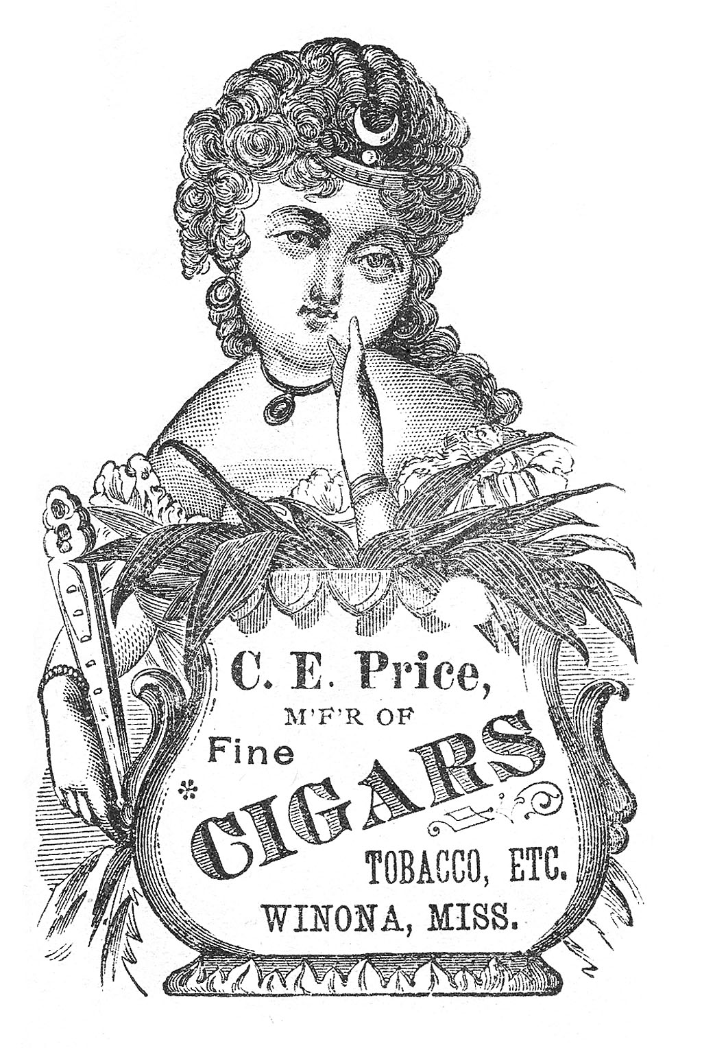 Tobacco Sign Lady with Cigar Text