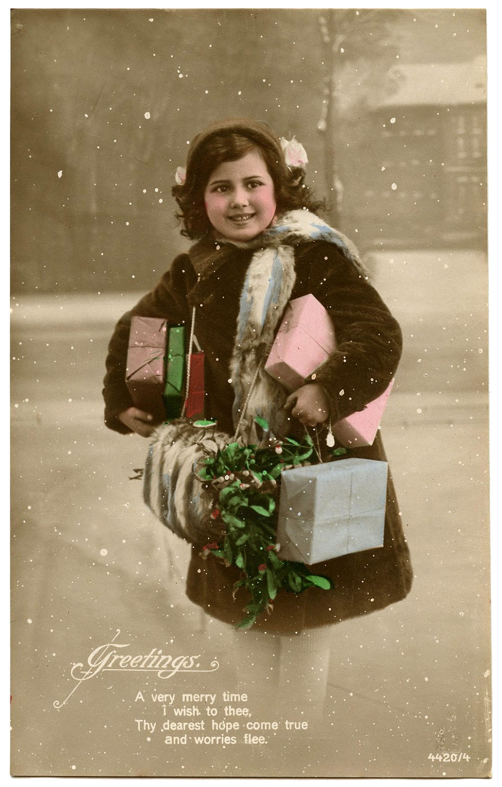 Old Photo Girl With Mistletoe Snow And Gifts The