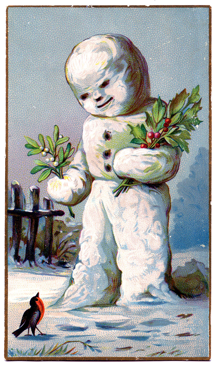 Vintage christmas graphic snowman with holly the