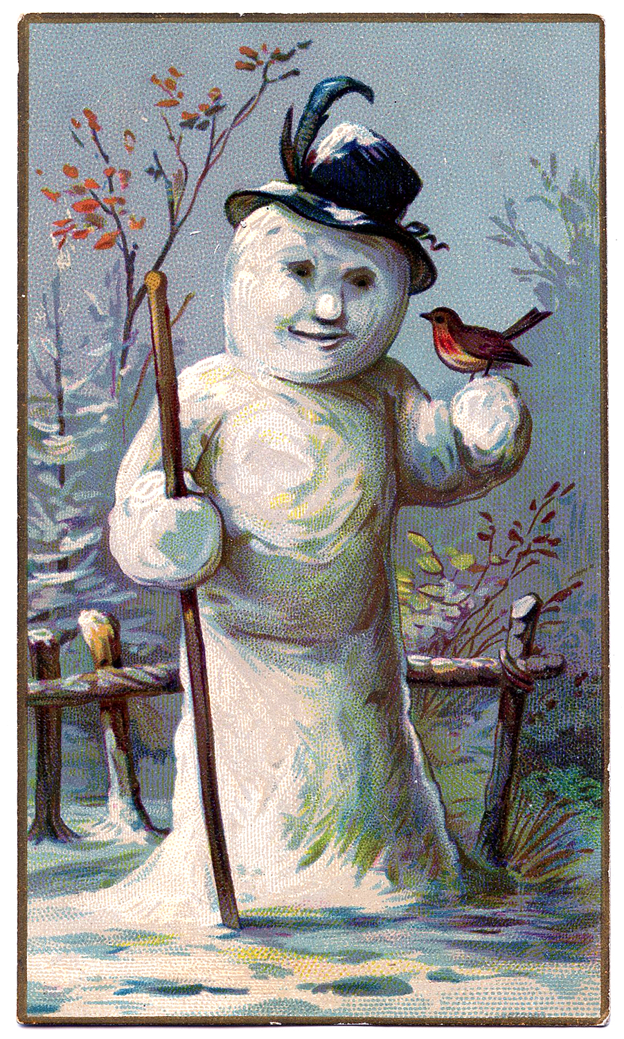 Best Snowman with Bird and Hat